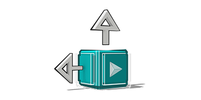 icona cubo con freccie